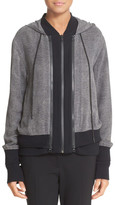 DKNY Double Layer Silk & Cotton Blend Hoodie