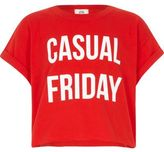 River Island Girls Red 'casual Friday' cropped T-shirt