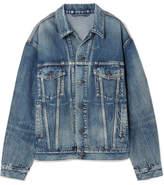 Balenciaga Like A Man Oversized Printed Denim Jacket - Blue