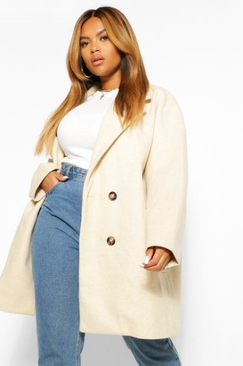 boohoo PLUS Oversized Double Breasted Wool Look Coat