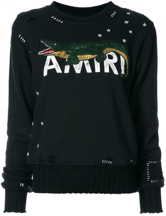 Amiri alligator-print crew neck sweatshirt