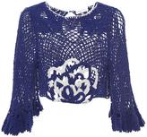 Alice McCall Blue Sky Mine Cotton Crochet Ruffle Sleeved Top