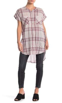 Love Stitch Plaid High/Low Button Down Tunic