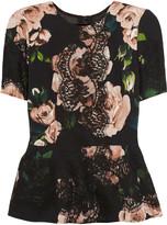 Dolce & Gabbana Lace-appliquéd rose-print crepe top