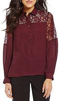 Alex Marie Rashida Lace Woven Long Sleeve Top