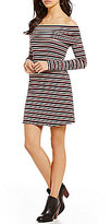 Blu Pepper Off-The-Shoulder Stripe Knit Long-Sleeve Sheath Dress