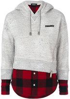 DSQUARED2 layered sweatshirt top - women - Cotton/Wool - XS