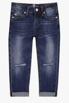 7 For All Mankind Girls 4-6x Josefina 5-Pocket Skinny Boyfriend Stretch Denim Jeans In Rigid Sanded Blue