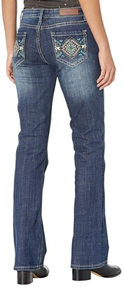 Rock and Roll Cowgirl Mid-Rise Bootcut with Aztec Pocket Embroidery in Medium Vintage W1-6126