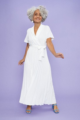 Coast Wrap Front Pleated Skirt Dress