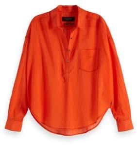 Scotch & Soda Orange Lightweight Cotton Shirt - xsmall - Orange