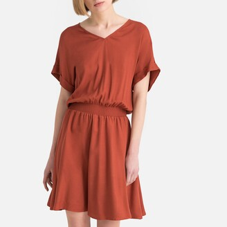 La Redoute Collections Smocked Flared Dress with Open Back