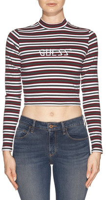 GUESS Long Sleeve Mock Neck Stripe