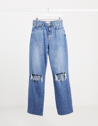 Stradivarius wide leg jeans with rips in blue