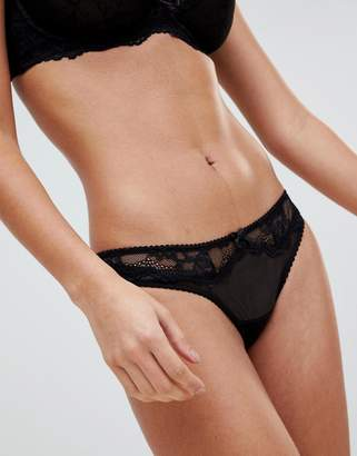 Ivory Rose Lingerie Ivory Rose Lace Trim Thong-Black
