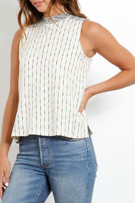 Three Dots Striped Mock Neck Flared Tank