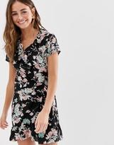Brave Soul frill wrap mini dress in black floral