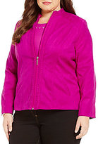 Allison Daley Plus Braided Mandarin Collar Suede Jacket