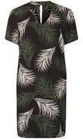 Dorothy Perkins Womens Palm Print Choker Shift Dress- Black