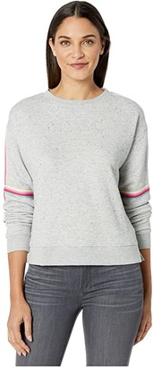 BB Dakota Posting Up Speckled French Terry Pullover Crew with Stripe Detail (Light Heather Grey) Women's Clothing