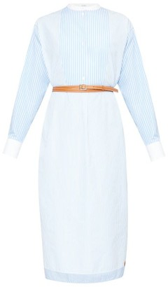 Loewe Striped Belted Cotton-poplin Shirt Dress - White Multi