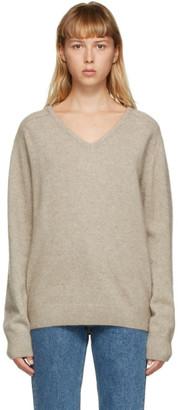 AMOMENTO Beige Raccoon Yarn V-Neck Sweater