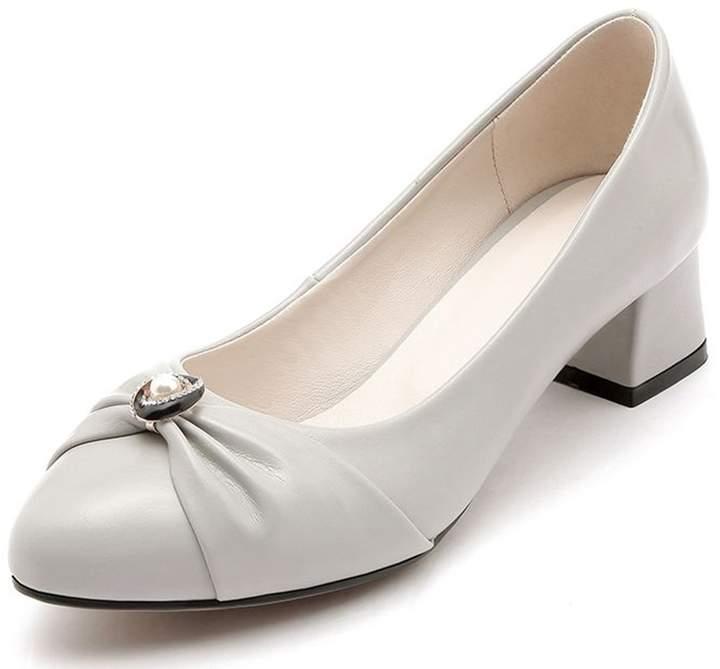 1286906df82 Kaloosh Women's Liesure Pointed Toe Knot Block Low Heel Court Shoes Dress  Pumps