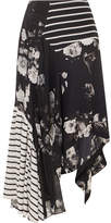 Preen by Thornton Bregazzi Veronika Paneled Printed Silk Skirt - Black