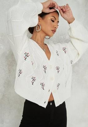 Missguided Cream Misletoe Embellished Knit Christmas Cardigan