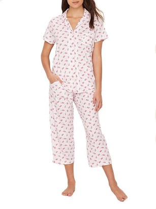 Karen Neuburger Ditsy Girlfriend Knit Cropped Pajama Set