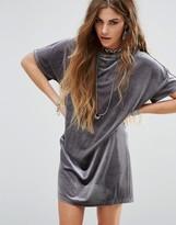 Glamorous T-Shirt Swing Dress In Velvet
