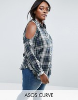 Asos Check Shirt with Cold Shoulder in Green Check