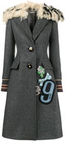 Miu Miu patch embellished shearling collar coat