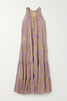 Yvonne S Hippy Tiered Printed Cotton-voile Maxi Dress - Lavender