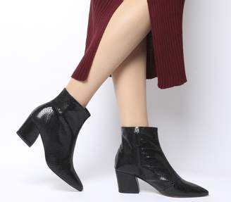 Office Aubergine Curved Heel Ankle Boot Black Snake Leather