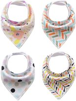 Happy Cherry Baby Bandana Bibs for Boys Girls 4 Pack Super Absorbent Baby Gift Sets