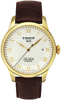 Tissot T41541373 Le Locle Date Leather Strap Watch, Brown/silver