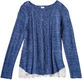 Mudd Girls 7-16 & Plus Size Marled Cable Knit Lace Hem Sweater