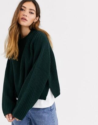 Weekday Cassandra sweater in dark green