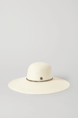 Maison Michel Blanche Crystal-embellished Straw Sunhat - Cream