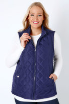Yours Clothing Navy Padded Gilet With Quilted Stitch Detail & Popper Button Pockets