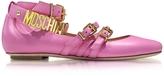 Moschino Pink Leather Flat Ballerinas w/Golden Buckles & Signature Logo