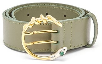 Chloé Snake C-buckle Leather Waist Belt - Womens - Green