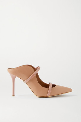 Malone Souliers Maureen 85 Patent-trimmed Leather Mules - Sand