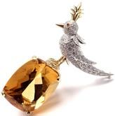 Tiffany & Co. Schlumberger 18K Yellow Gold & Platinum 58.80 Ct Citrine Diamond Bird on a Rock Brooch