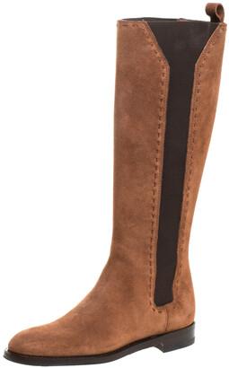 Saint Laurent Paris Brown Suede And Elastic Stitch Detail Knee Length Boots Size 35