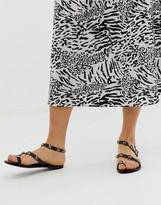 Asos Design DESIGN Fuel leather embellished flat sandals