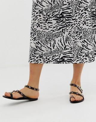 Asos DESIGN Fuel leather embellished flat sandals