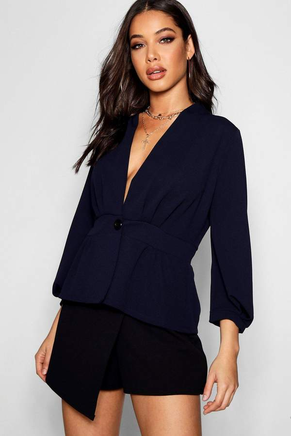 boohoo Balloon Sleeve Pleated Button Blazer