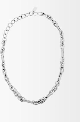 LAUREN RUBINSKI Mixed Chain-link 14kt White-gold Necklace - White Gold